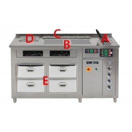Corner à pâtes multifonction: 8 cuiseurs à pâtes / bain-marie à 15 bacs GN1/6 / 4 Conteneurs réfrigérés / 4 tiroirs réfrigérés