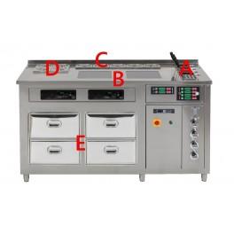 Corner à pâtes multifonction : Cuiseurs à pâtes, plaques induction, bain-marie sauces, conteneurs réfrigérés, tiroirs réfrigérés