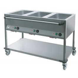 Bain-marie sur chariot 3 cuves GN1/1