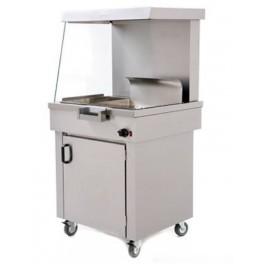 Maintien au chaud frites avec lampe chauffante et supports cornets